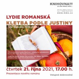 leták k prezentaci nového románu ostravské spisovatelky Lýdie Romanské